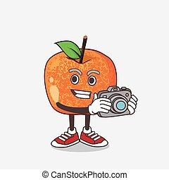 action, appareil photo, pluots, caractère, fruit, mascotte, photographe, dessin animé