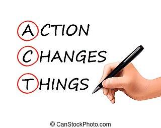 action, changements, choses, mots, main, 3d, écrit