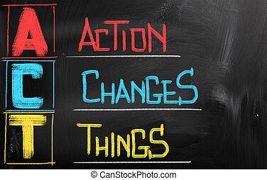 action, choses, concept, changements