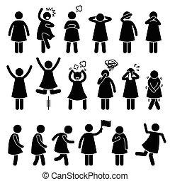 action, femme, poses, attitudes