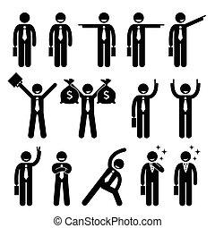 action, homme affaires, poses, heureux