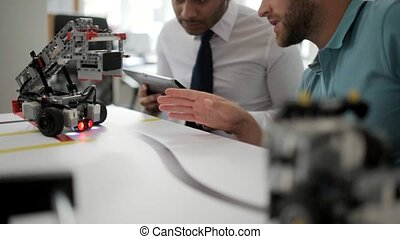 action, ingénieurs, essai, robots, jeune