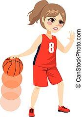 action, joueur, basket-ball, femme