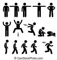 action, poses, attitudes, humain
