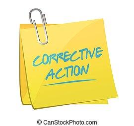 action, poste, correctif, note, illustration