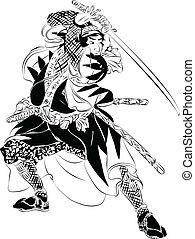 action, samouraï, illustration