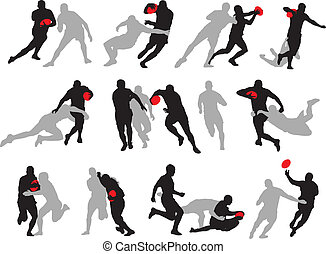 action, silhouette, poses, groupe, rugby