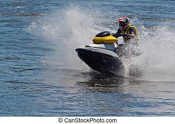 action, ski, jet