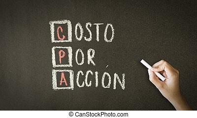 action, spanish), cout, par, (in
