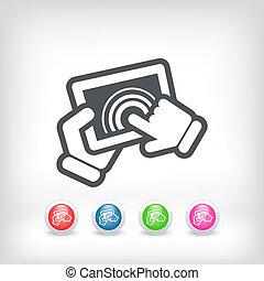 action, touchscreen, icône