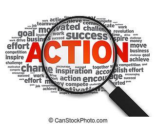 action, verre, -, magnifier