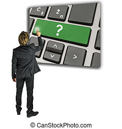 activer, homme, question, clavier, marque