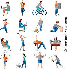 activité, physique, icônes