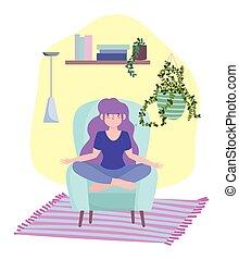 activités, chaise, isolement, séjour, quarantaine, méditation, coronavirus, pose, maison, girl, soi