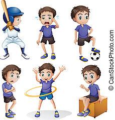 activités, différent, jeune garçon
