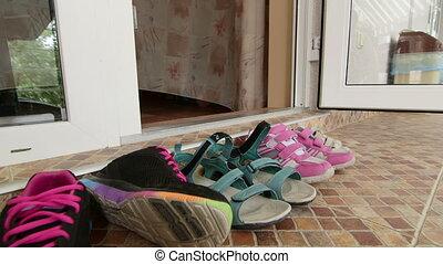 activités, entrée, extérieur, salle, hôtel, chaussures