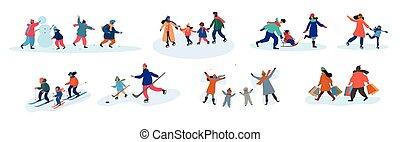 activités, famille, ensemble, différent, huit, hiver