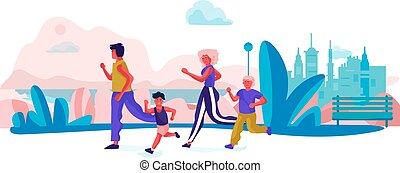 activités, famille, heureux, scène, dessin animé, courant, exercices, holidays., vecteur, parents, branché, sport, enfants, park.