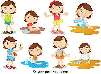 activités, fille, jeune, quotidiennement
