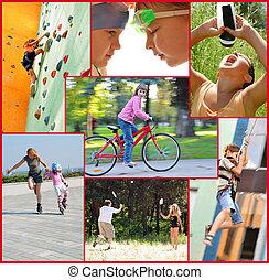 activités, gens, collage, photo, sports, actif