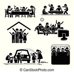 activités, home., temps famille