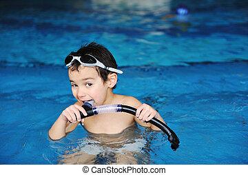 activités, piscine, jouer, eau, été, enfants, bonheur, natation