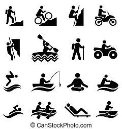 activités, récréatif, loisir, icônes