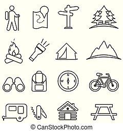 activités, récréation, extérieur, camping, ensemble, loisir, icône