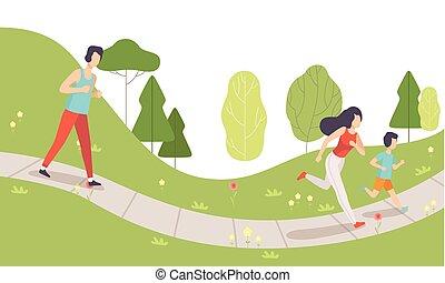 activités, style de vie, famille, parc, mère, père, illustration, fils, leur, courant, vecteur, fitness, dehors, sain, physique