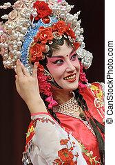 actrice, chinois, joli, opéra