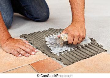 adhésif, tuiles, plancher, enduisage, céramique, ouvrier, mains