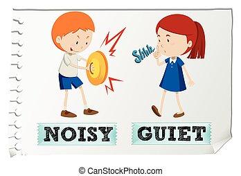 adjectives, opposé, calme, bruyant