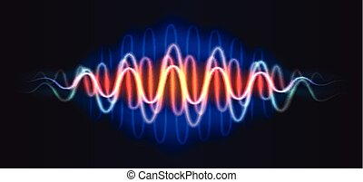 adn, figure, lignes, résumé, néon, vague, musique, brillant