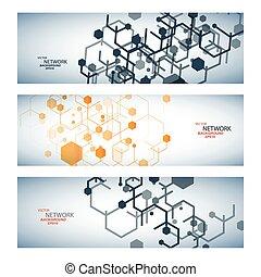 adn, réseau, couleur, connexion, vecteur, atome