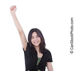 adolescent, élevé, reussite, jeune, une, confiant, girl, bras