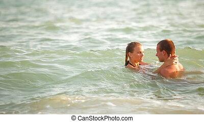 adolescent, été, couple, vacances plage