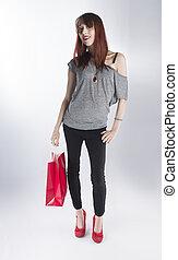 adolescent, achats femme, sac, unique, tenue, rouges