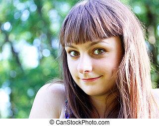adolescent, amusement, girl, parc, avoir
