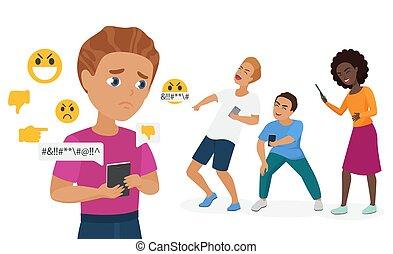 adolescent, caractère, intimidé, triste, messages, vecteur, dessin animé, intimider, haine, cyber, plat, gens, garçon, smartphone, illustration, camarades classe, tenue