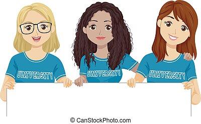 adolescent, chemise, université, filles, illustration, planche
