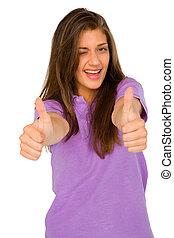 adolescent, cligner, haut, girl, pouces