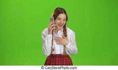 adolescent, conversation, écran, téléphone., vert