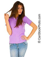 adolescent, doigts, cheveux, courant, par, girl