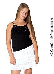 adolescent, dress., girl, court