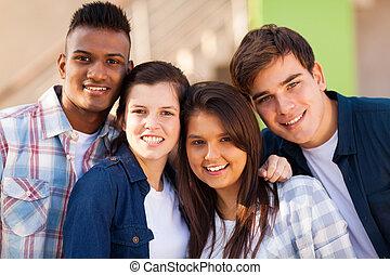 adolescent, gai, groupe, amis