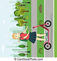 adolescent, girl, parc, caucasien, scooter