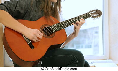 adolescent, guitare, girl, jouer