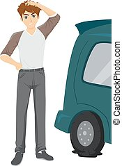 adolescent, illustration, type, remplacement, pneu, fondamental