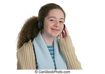 adolescent, mignon, écouteurs