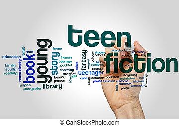 adolescent, mot, nuage, fiction